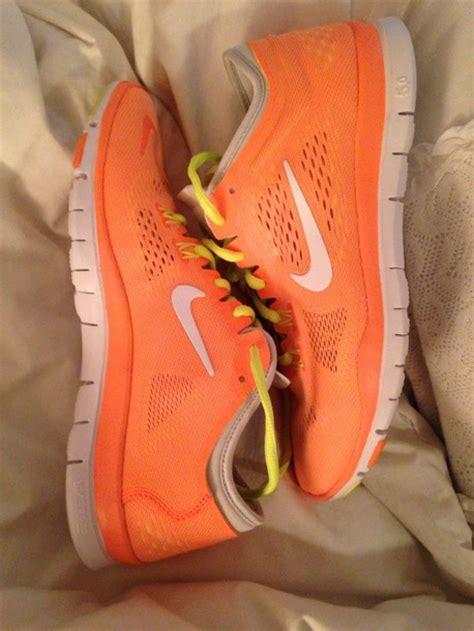 neon orange sneakers shoes nike nike running shoes nike sneakers nike free