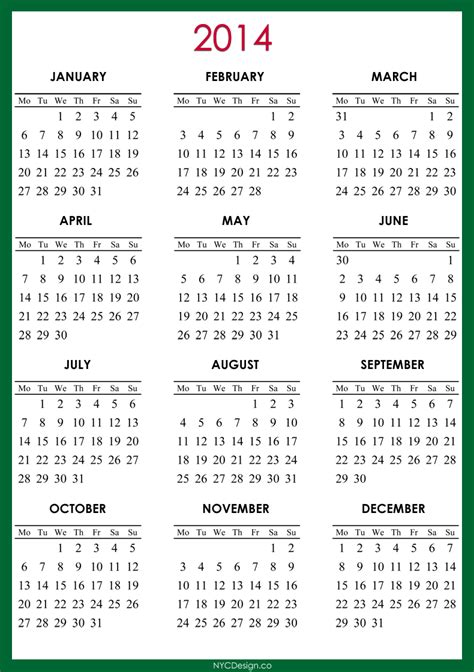 free printable 2014 calendar year with holidays just b cause