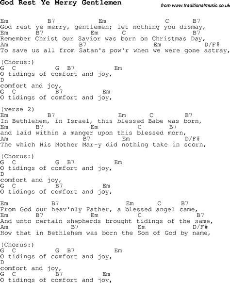 Comfort Ye Lyrics by Carol Song Lyrics With Chords For God Rest Ye