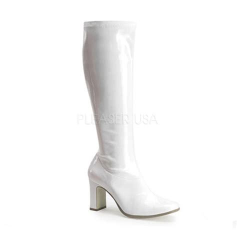 white stretch patent chunky heel gogo boots boots catalog