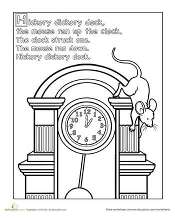 worksheets hickory dickory dock coloring page animals