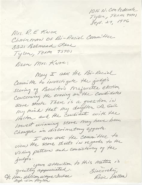 Complaint Letter To Judge Tarlton Library The William Wayne Justice Papers