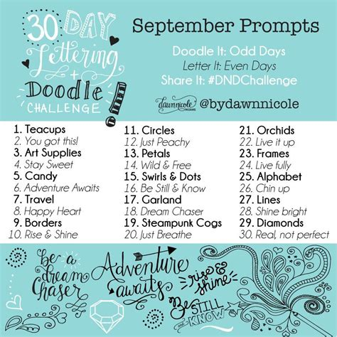 daily doodle prompts 30 day challenge september prompts designs 174