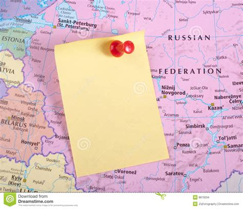 yellow map yellow note and pin on map stock photography