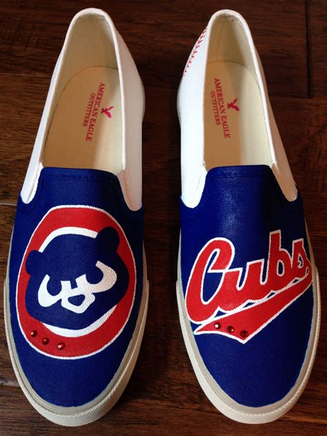 Handmade Shoes Chicago - custom painted chicago cubs shoes