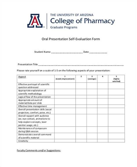 presenter evaluation form template sle presentation evaluation forms 7 free
