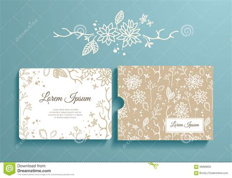 invitation card envelope template floral set of invitation and envelope stock