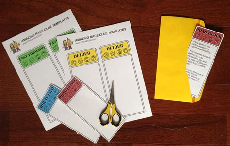 Amazing Race Clue Cards Templates by The Amazing Race Printables Chica And Jo