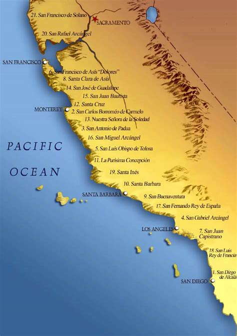 map of california coastline parallel histories the california missions historias