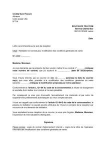 Resiliation Lettre Bouygues Lettre De R 233 Siliation De L Abonnement Bouygues Telecom Pour Modification Des Conditions