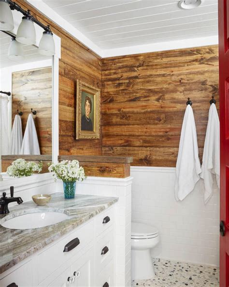 Shiplap Ceiling Bathroom This Bathroom From Hgtvmagazine Features Stained Shiplap