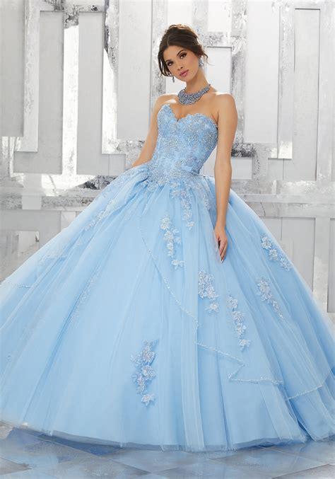 Dress Valencia Blue beaded embroidered lace appliqu 233 s on a princess