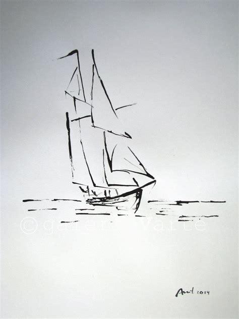 boat drawing ink original ink drawing sailboat europeanstreetteam