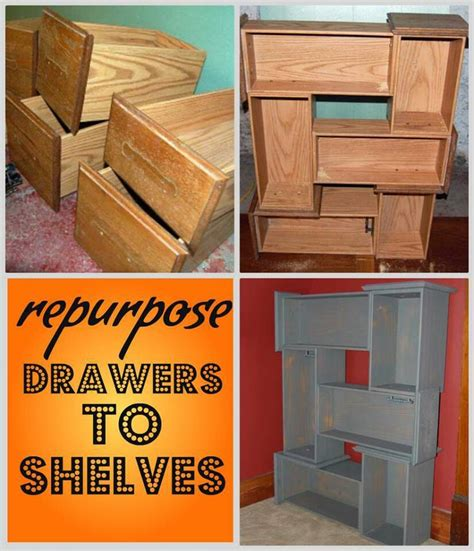 Dresser Drawer Wall Shelves by Repurposed Drawers Into Bookshelf Wooden Shelves Paint