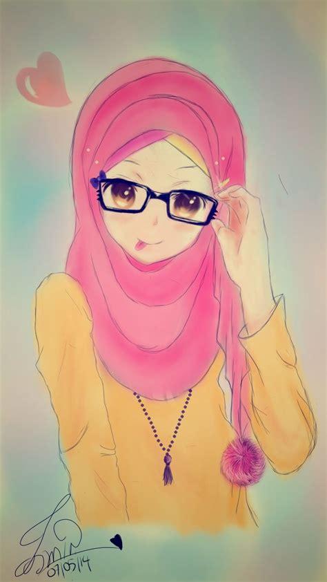 anime hijab gaul top gambar kartun muslimah pakai kacamata top gambar