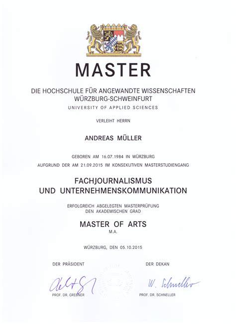 Bewerbung Studium Welches Zeugnis andreas m 252 ller 171 masterstudium fachjournalismus wirtschaft