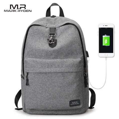 Mairu 0219 Smart Backpack Usb Port Charger Free Powerbank Grey Buy A Backpack With Usb Charger Free Shipping 7 Day