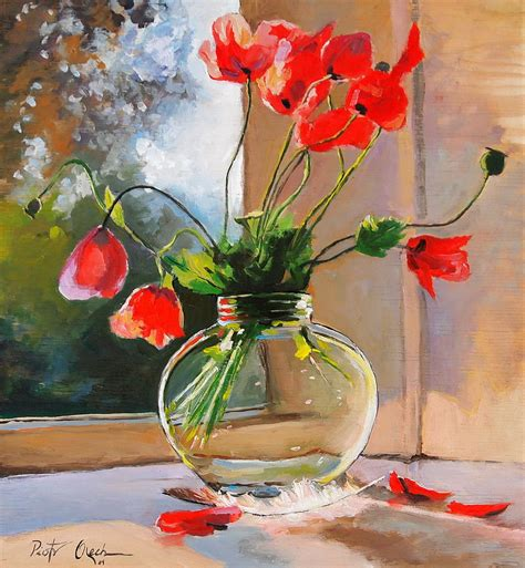 poppies in a glass vase painting by piotr olech