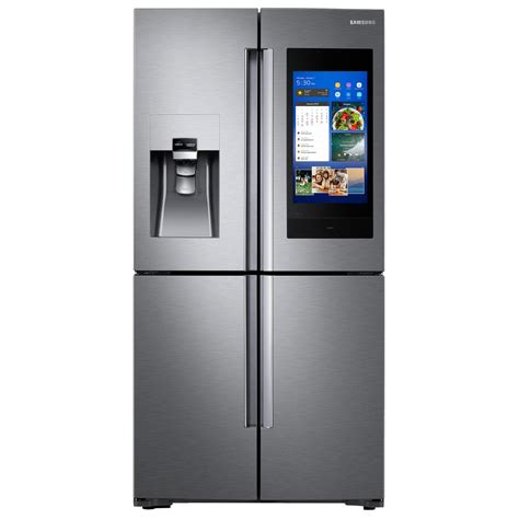 samsung 22 cu ft family hub 4 door door smart refrigerator in stainless steel with akg