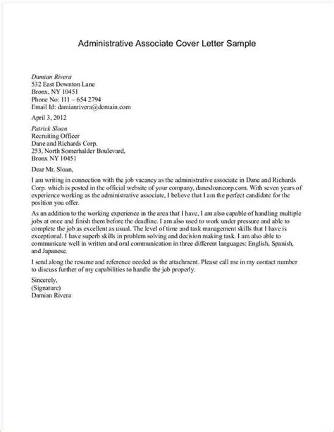 sles of cover letters for administrative administrative cover letter sles business