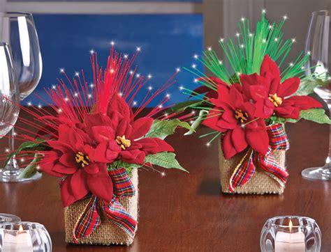 set of 2 fiber optic poinsettia centerpieces for christmas