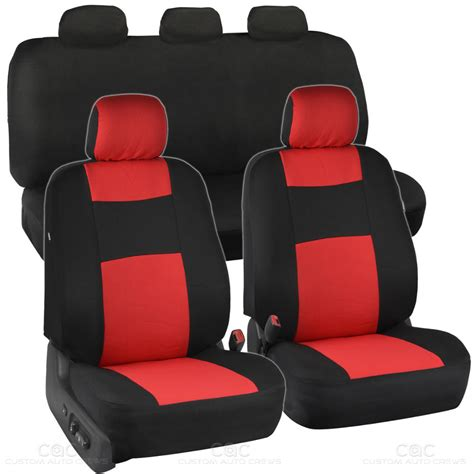 auto bench seat covers car seat covers red black polyester cloth front