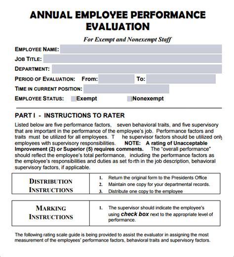 Employee Evaluation Form 17 Download Free Documents In Pdf Annual Performance Review Template