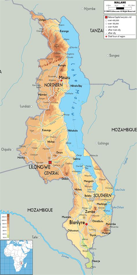 malawi map physical map of malawi ezilon maps