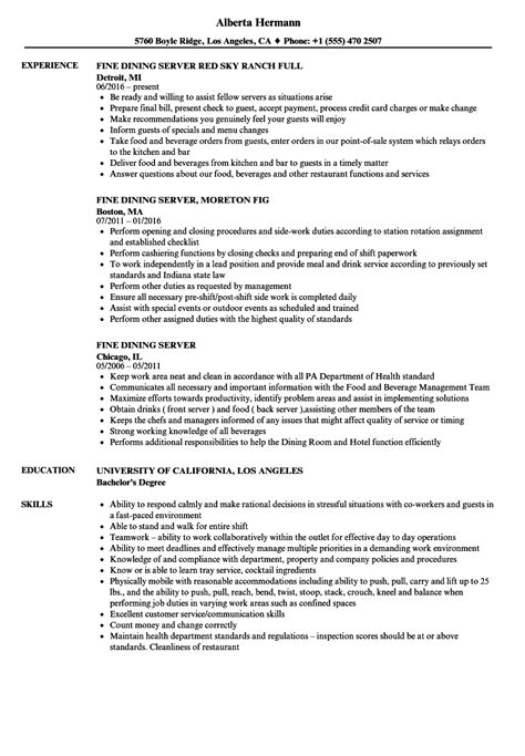 Dining Server Resume by Dining Server Resume Sles Velvet
