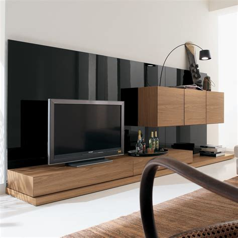 living room stand furniture modern nature wood big screen tv stand wall