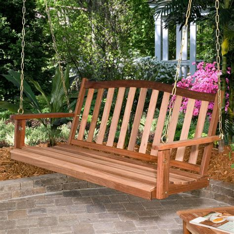 porch swing wood porch swing bench outdoor patio deck yard hanging