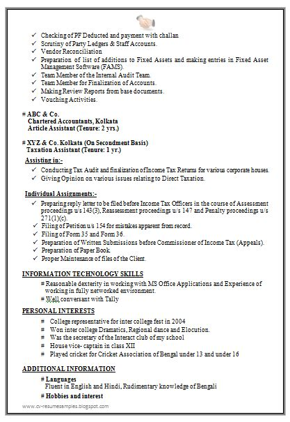 Fixed Asset Accountant Sle Resume Professional Experienced Chartered Accountant Resume