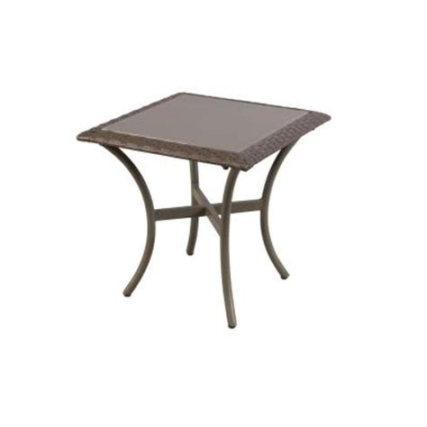 Patio Table Glass Replacement Home Depot Hton Bay Posada 18 In Glass Top Patio Side Table 153