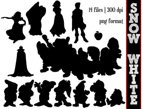Snow White and the seven dwarfs Silhouettes // Disney Princess