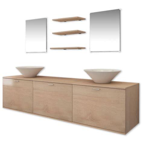 Bathroom Furniture Sets Vidaxl Ten Bathroom Furniture Set With Basin With Tap Beige Vidaxl Co Uk