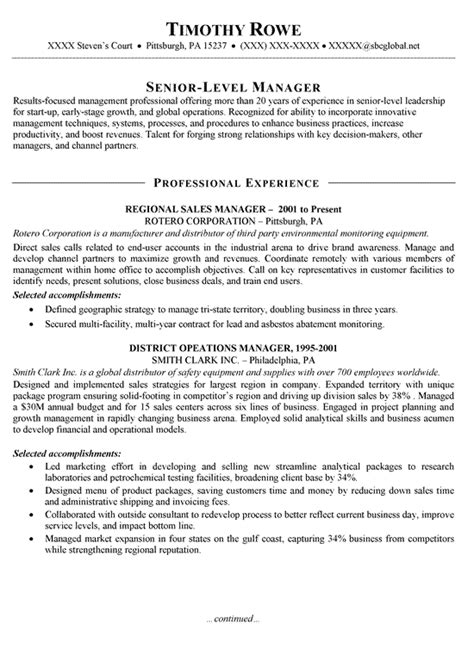 Comsec Manager Sle Resume by Sales Manager Resume Exle Resume Exles