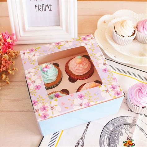 Box Kue Sovenir Cake Box Cake Cupcake Muffin Pudding garden mini flowers muffin cupcake box 4 lattice cake packaging box wedding box gift