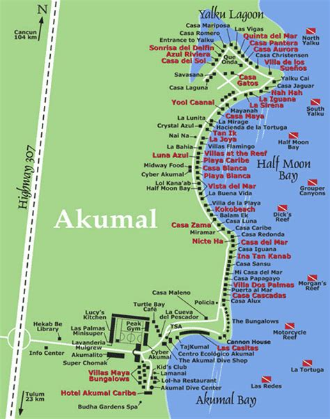 akumal resort map area maps