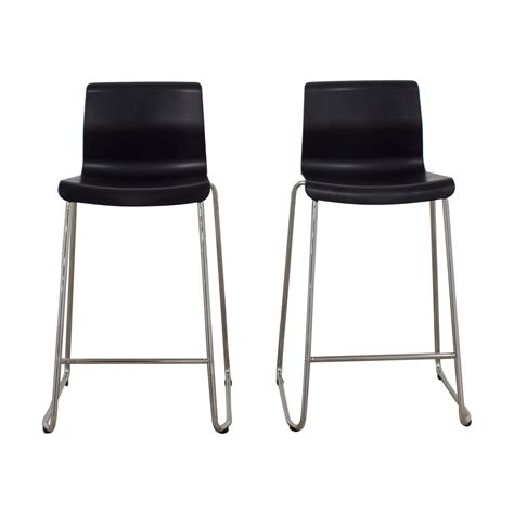62 off ikea ikea black and metal bar stools chairs