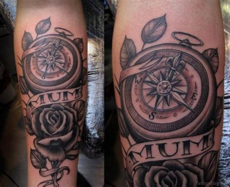 rose and compass tattoo 41 stylish compass tattoos for leg