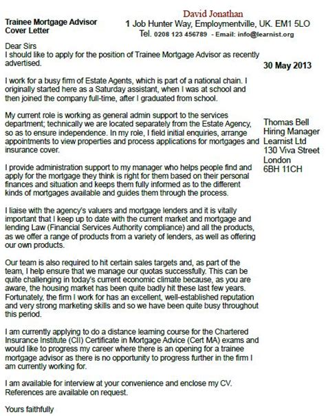 trainee mortgage advisor cover letter exle forums