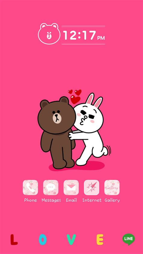 theme line android brown cony line deco cony loves brown how cute couple they are xd