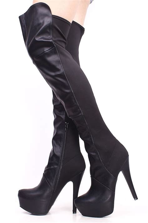 black stretch lycra stretch stiletto thigh high boots high