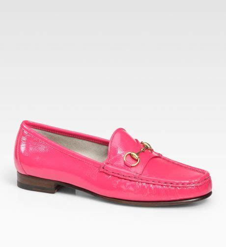 pink leather loafers gucci patent leather horsebit loafers in pink brightpink