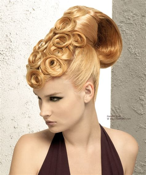 hairstyles when hair is up sleek up style with spiraling pin curls