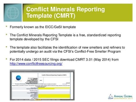 eicc conflict minerals reporting template cscmp 2014 conflict minerals in your supply chain tord