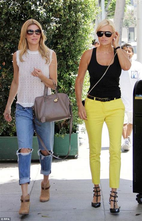 white jeans like yolanda foster on set brandi glanville and yolanda foster were seen