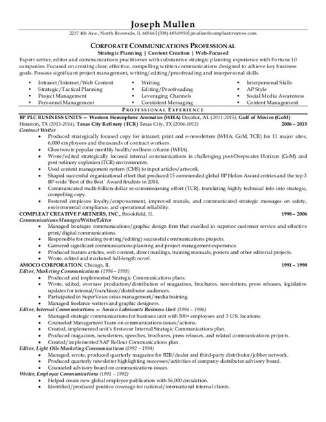 Communication Resume by Joseph Mullen Communications Professional Resume 2015