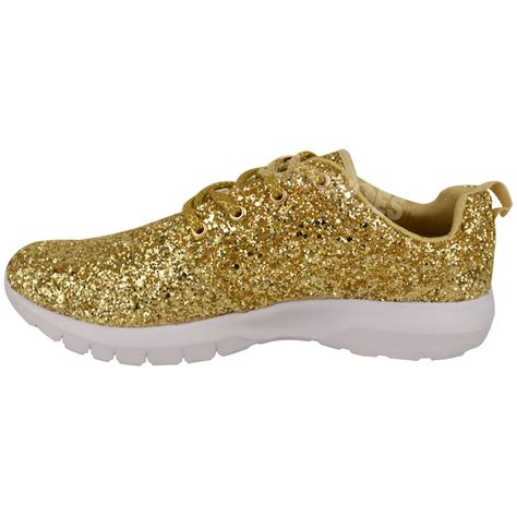Glitter Sneakers womens lace up glitter sparkly trainers sneakers