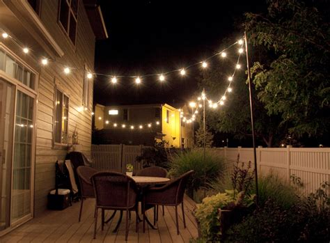 String Lights Outdoor Patio Backyard String Lights And Flowers Home Design Inside